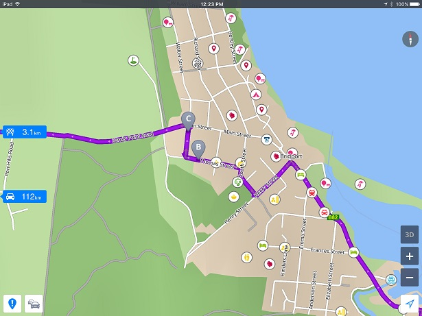 Touch the purple route line and drag to new destination.